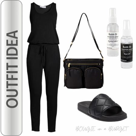 My travel outfit for Aruba! Black jumpsuit, black slides, black crossbody, hand sanitizer   http://liketk.it/3eR9U #liketkit @liketoknow.it #LTKtravel #LTKunder50 #LTKitbag