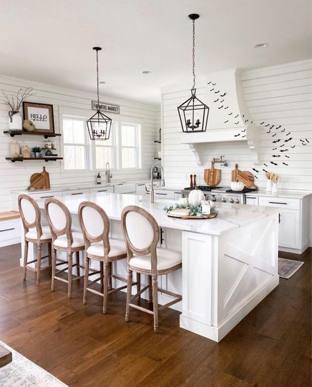 White modern farmhouse kitchen barstools counter stools pendant lighting home accessories and decor open shelving affordable accents fall seasonal and Halloween decor bats spooky   #LTKhome #LTKunder50 #LTKSeasonal