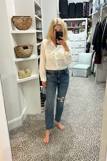 Mom fit jean TTS, blouse size S.     #LTKSeasonal #LTKunder100 #LTKstyletip