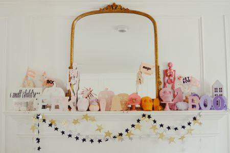 Halloween decor, Halloween mantel, Halloween diy, garlands, mirror  #LTKSeasonal #LTKkids #LTKhome