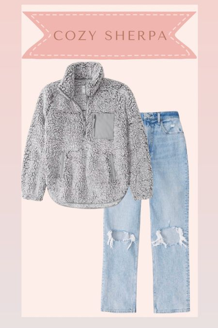 Sherpa pullover and jeans from Abercrombie on sale   #LTKSale #LTKsalealert #LTKstyletip