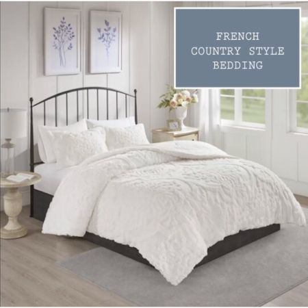 Wallow in tufted chenille damask bedding with 100% cotton comforter set with matching shams and pillowcases in white. Machine washable, hypoallergenic, and OEKO-TEX certified. French country style duvets.   #LTKfamily #StayHomeWithLTK @liketoknow.it.family @liketoknow.it.home http://liketk.it/37aHf #liketkit @liketoknow.it