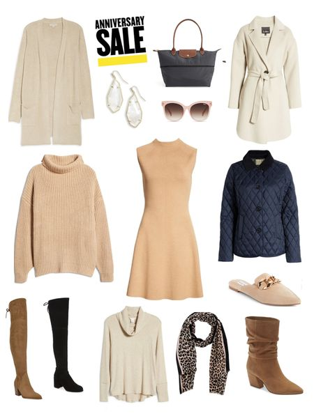 NSale, Nordstrom Annicersary Sale, Wool Coat, Wool Blend Coat, long cardigan, brown OTK boots, brown over the knee boots, black booties, Longchamp bag, quilt jacket, turtleneck sweater, mules, Kendra Scott earrings, sweater dress, camel boots, Quay sunglasses, Double Breasted Coat, boots, Fall outfits  #LTKunder100 #LTKsalealert #LTKunder50