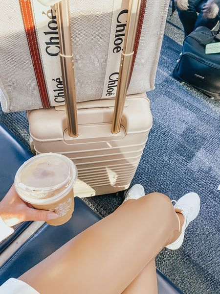 travel outfit, suitcase, luggage, Chloe tote, Chloe woody tote, new balance sneakers, suitcase, Beis suitcase, airport outfit, neutral outfit   #LTKtravel #LTKunder100