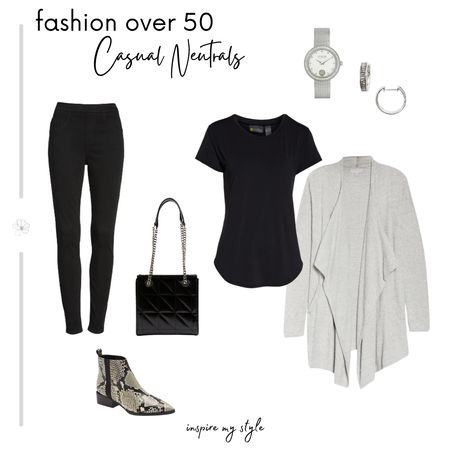 Black and gray for a casual neutral look, with flattering style for women over 50. From Nordstrom.  #fashionover50 #casual #neutral #nordstrom #inspiremystyle #liketkit @liketoknow.it http://liketk.it/35CjP