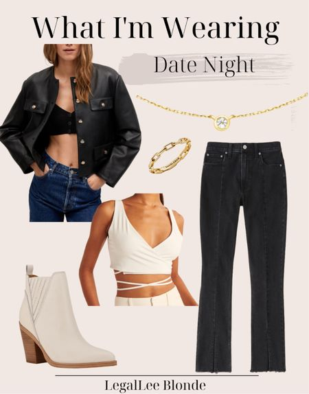 Date night outfit! Perfect chic fall outfit - the faux leather blazer is an elevated take on the classic leather jacket!  - high rise skinny jeans - ankle boots - hera ring - pendant necklace   #LTKstyletip #LTKshoecrush #LTKunder100