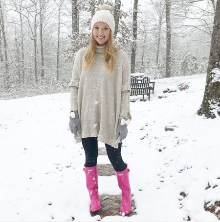 Another GA snowfall! I'm like a kid when I see a few flurries 😂This poncho that y'all L O V E D 💕 is back in stock in a XS and M and the striped top I layered underneath is on sale for $20. I couldn't resist buying two more colors because I live in comfy tees👍🏼 I also linked some pink Hunter boots on sale. I've had mine for years and still love to wear them 🍓 http://liketk.it/2ugmS #liketkit @liketoknow.it