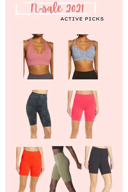 Biker shorts // NSALE // Nordstrom anniversary sale // Zella // Alo // Spanx // workout outfits // sports bra   #LTKfit #LTKunder50 #LTKsalealert