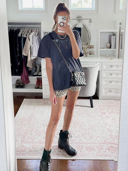 Biker shorts body suit, oversized tee, chunky combat boots, chunky gold necklace, small black crossbody bag, fall outfit, fall outfits   #LTKunder100 #LTKshoecrush #LTKstyletip
