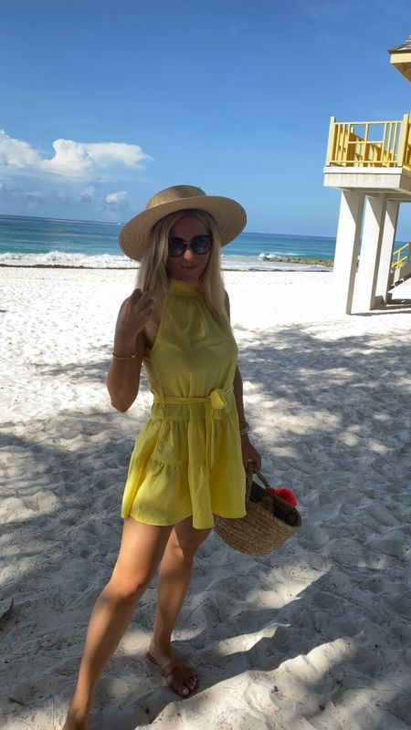 Yellow floaty dress - sleeveless dress - mini dress - summer wedding guest dress - occasion outfit - straw hat - summer outfits - floaty dress - straw bag - wicker hat   #LTKunder50 #LTKeurope #LTKsalealert