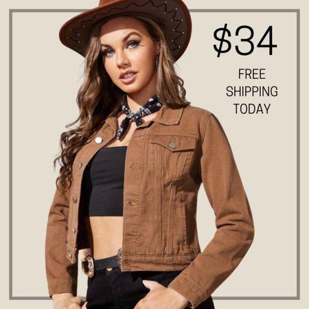 Button front trucker denim jacket  #LTKunder100 #LTKstyletip #LTKunder50