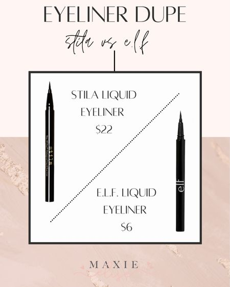 Makeup Dupes - Stila Vs Elf ✨  #makeupdupes #affordablemakeup #liquideyeliner #stila #elf  #LTKunder50 #LTKbeauty #LTKunder100