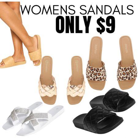 Sandals and slides all under $10! Click the image you like to browse styles & sizes. #sandals #slides #LTKsalealert #LTKshoecrush #LTKunder50 http://liketk.it/3fR39 #liketkit @liketoknow.it