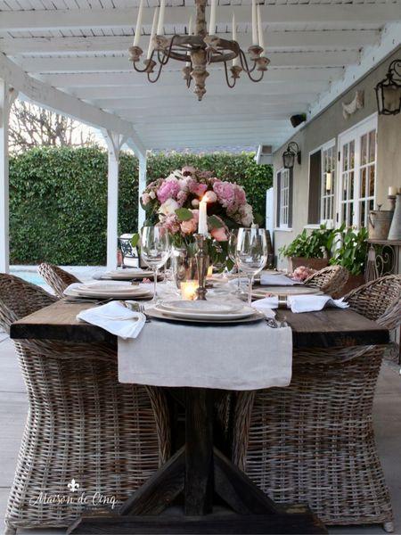 Dining alfresco = best part of summer! @liketoknow.it #liketkit http://liketk.it/3hCz3 @liketoknow.it.home #LTKhome summerdining summerdecor summerdecorating outdoorspace outdoordecor patiotable farmhousetable