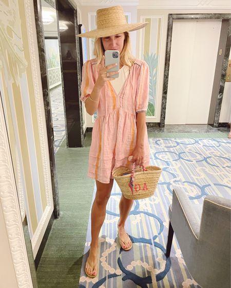 Beach vacation - coverup dress (runs big), Marysia swimsuit, straw bag @liketoknow.it #liketkit http://liketk.it/3fjoM