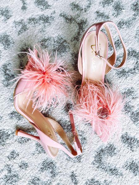 Pink feather sandals heels   #LTKunder50 #LTKshoecrush