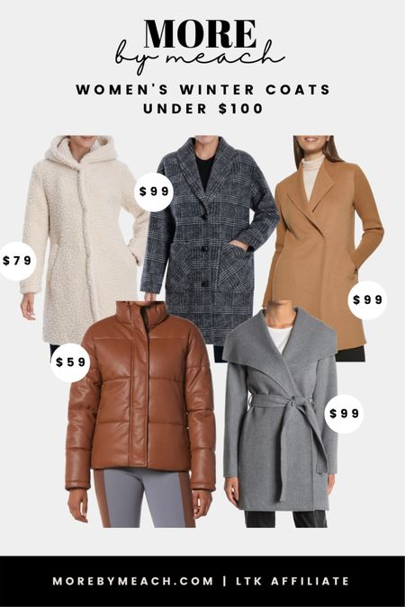 Women's Winter Coats Under $100 - all from Nordstrom Rack! Click to shop these capsule wardrobe essentials before they sell out. More colors are available!! 🤍 | teddy coats, plaid jackets, oversized plaid coats, camel coats, gray wool coats, long coats, dress coats, faux leather puffer jacket   #LTKunder100 #LTKSeasonal #LTKGiftGuide