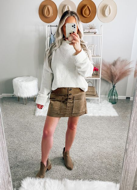 ✨BLONDEBELLE✨ to save! Wearing a small in both!  . . . Mini skirt, taupe skirt, fall, fall sweater, fall outfit, cream sweater, mock neck sweater, pink lily boutique   #LTKunder50 #LTKSeasonal #LTKstyletip