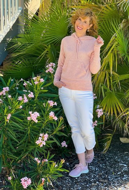 Pink cashmere sweater, cashmere hoodie, JCrew sweater, pink hoodie, white jeans, pink sneakers, pink Allbirds, white drop earrings, Kendra Scott earrings  This sweet pink sweater is soft & cozy cashmere! It will elevate your loungewear game, for sure! I paired it with these great pink shoes that people ask me about all the time! This sweater would make a great holiday gift! Also check out the gray cashmere hoodie and light brown cashmere hoodie,  which ibex linked below.  #LTKSeasonal #LTKstyletip #LTKshoecrush