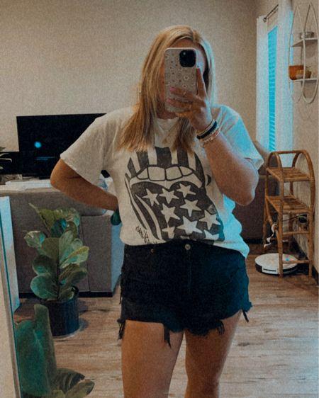 Denim mom shorts black Wearing size 8 Affordable Rolling Stones graphic tee   http://liketk.it/3hjgy #liketkit @liketoknow.it #LTKunder50 #LTKstyletip