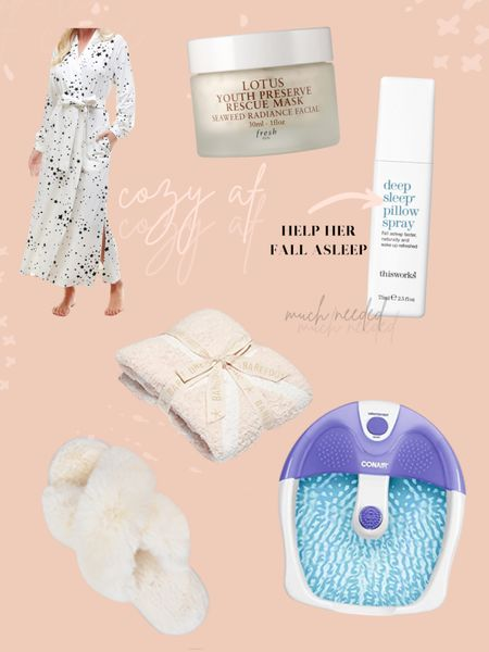 #LTKgiftspo #LTKhome #LTKunder100 Gift ideas for mom / self care gifts / mason grey robe / fuzzy slippers / foot bath / pillow spray / barefoot dreams blanket / gifts for her / face mask / gifts for mom http://liketk.it/336HF #liketkit @liketoknow.it