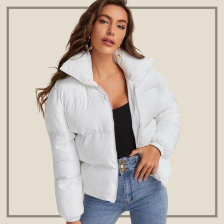 White puffy winter jacket coat  #LTKSeasonal #LTKstyletip #LTKunder50