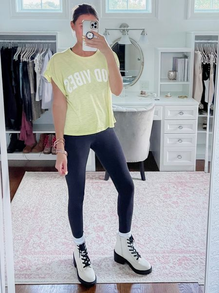 Leggings outfit, lululemon align, white boots, combat boots, lug boots, neon yellow, target style, fall, casual   #LTKunder100 #LTKstyletip #LTKshoecrush