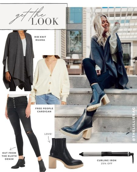 Get the look: Cozy fall style. Wear cardigan as a shirt. Ruana for cold days. Black denim and Chelsea boots.   #LTKsalealert #LTKstyletip #LTKSeasonal