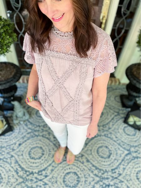 This Amazon linen, lavender blouse has been on repeat this spring! Finally removed the pollen off of our spring front porch!  #LTKhome #LTKSeasonal #LTKstyletip