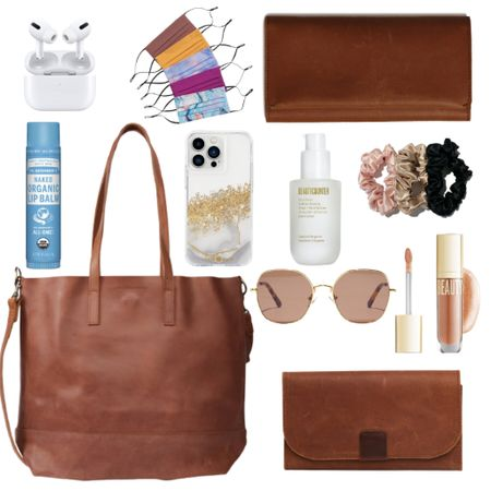 This Able Bag is on SALE and I've paired it with what I always have in my bag.   Leather Bag : Tote : Mask : AirPods : Hand Sanitizer : Sunglasses : Scrunchie : Wallet : Lip Gloss : Chapstick : Phonecase    #LTKsalealert #LTKGiftGuide #LTKitbag
