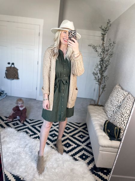 Walmart outfit  Button down dress- small  Chunky cable knit cardigan- small    #LTKshoecrush #LTKstyletip #LTKunder50
