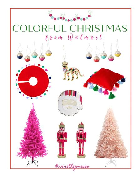 Christmas decor from Walmart 🎅🏻 Colorful holiday decor in bright pink, green, red and blue! How cute are these nutcrackers and tassel tree skirt? 😍🎄 . . Home decor, Christmas decor, holiday decor, room decor, Christmas tree, Christmas tree skirt, Santa decor, pink Christmas tree, Christmas ornaments, retro Christmas, holiday pillow, Christmas pillow  #LTKhome #LTKSeasonal #LTKHoliday