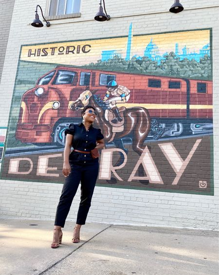 This casual black jumpsuit and pop of leopard print sandals was perfect for a stylish walking tour #delrayva murals! A great social distancing activity @visitdelray #mywhowhatwear #targetstyle #nordstrom http://liketk.it/2OXan #liketkit @liketoknow.it