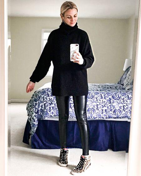 Free People Slouchy Tunic Sweater & Spanx Faux Leather Leggings  http://liketk.it/2XvNs #liketkit @liketoknow.it #LTKunder100 #LTKstyletip #LTKfit