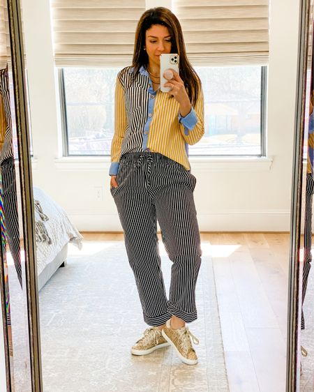 Mixing stripes and colors for a lunch date! These glitter sneakers are a great deal and go with everything! All exact items are linked! http://liketk.it/39E01 #liketkit @liketoknow.it #LTKunder100 #LTKstyletip #LTKworkwear