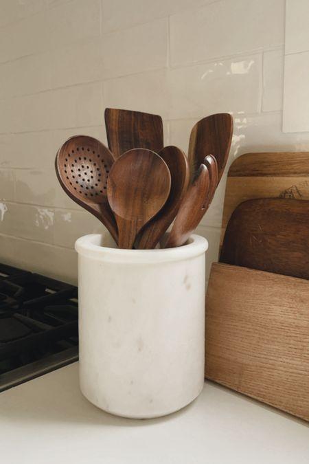 Wooden utensil set and marble utensil holder 🤍  #LTKhome