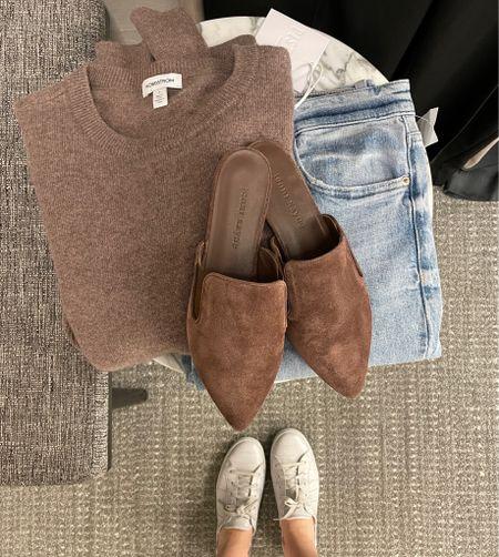 Cashmere sweater in brown mushroom taupe, Jenni kayne mules, and Pistola jeans    #LTKsalealert #LTKstyletip #LTKshoecrush