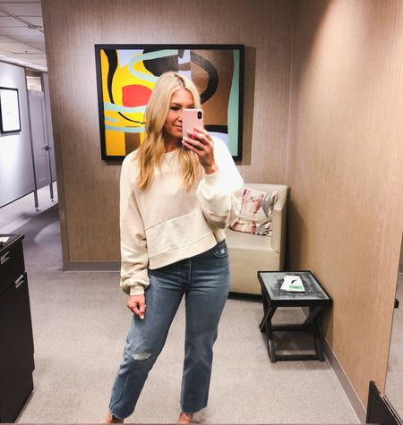 This cute cropped sweatshirt is under $30 and I love the beige / ivory tones. Tts. Nordstrom sale / NSale Levi's are the best from the sale. Under $75 and tts   #LTKsalealert #LTKunder50 #LTKstyletip