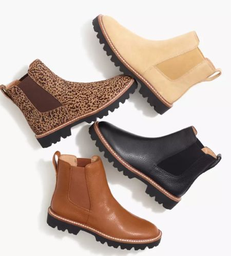 Lug sole boots. Chelsea boots. Black boots. Fall boots. Fall style. Fall outfit. Fall closet refresh. Must-have fall shoe. Leather boots. 20% off everything plus more.  #LTKSale #LTKshoecrush #LTKsalealert