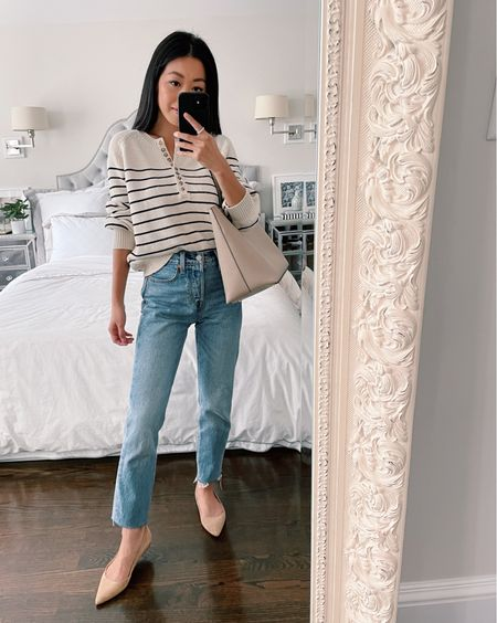 Casual Labor Day outfit // Favorite swiped sweater with a very similar dupe. Xxs in this sezane knit is a loose causal fit on me. Worn with my go to Levi wedgie icon jeans size 24 with hems cut to make them more petite friendly, Sam Edelman flat shoes 5, and sole society bag (both old)  #LTKunder100 #LTKstyletip #LTKbacktoschool