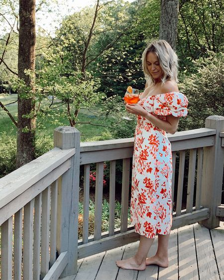 Banana Republic puff sleeve floral midi dress under $100🌹 Can be worn on or off the shoulder. Runs slightly small (usually wear 4-6 in dresses and I'm wearing a 6). Lined, side zip, smocked back. Also comes in white, and in a top version. http://liketk.it/2OSew @liketoknow.it #liketkit #LTKunder100 #LTKspring #LTKsalealert cold shoulder, spring dresses, vacation dress, floral dress, picnic dress, brunch dress, summer dress, linen dress