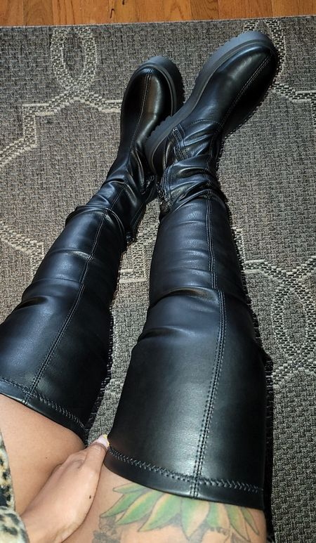 Boots  black boots  thight high boots  over the knee boots  chunky boots  platform boots  faux leather boots    #LTKunder100 #LTKSeasonal #LTKsalealert