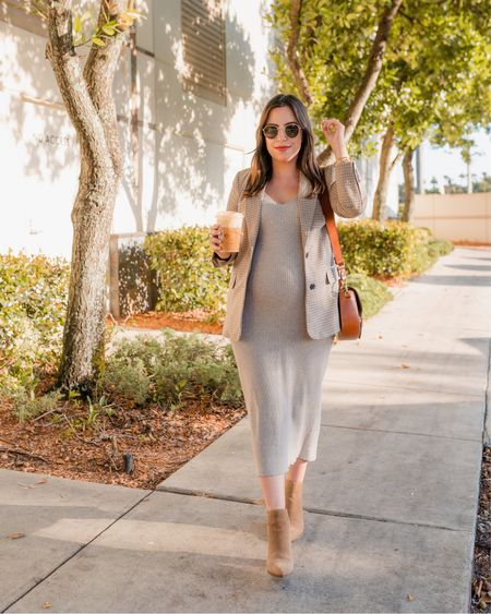Favorite maternity outfit for fall! Ribbed midi dress, plaid blazer, suede booties, crossbody bag and round sunglasses  Dress is an Amazon find, under $30!    #LTKSeasonal #LTKbump #LTKworkwear