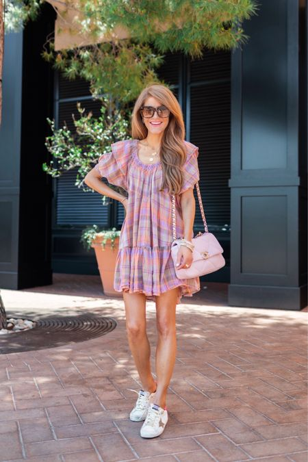 Belt it with a heel OR keep it simple with a sneak- either way this pastel plaid dress is so fun! Love the colors & the cute little sleeves. Its so comfy & such a wearable piece for Summer. Wearing XS and its a roomy fit! Shop it all by following me in the @liketoknow.it app & have a fab fab Monday! http://liketk.it/3i54l #liketkit #LTKshoecrush #LTKstyletip #LTKunder100   #freepeople #freepeoplestyle