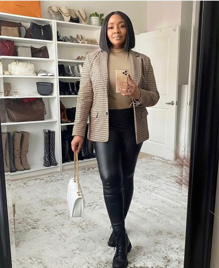 A plaid blazer, leather leggings and combat boots might just be my go-to look for the fall season. #fallfashion   #LTKstyletip #LTKSeasonal #LTKshoecrush