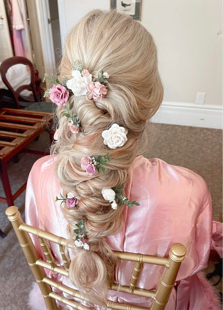 Wedding day hair! This curled, loose braid with flower pins was everything I dreamed of! Linking my flower hair pins (I was blown away by the quality) and the tools used to get this look! - hairstyle - bridal hairstyles - flower hair pins - flower Bobby pins - hair accessories   #LTKwedding #LTKunder50 #LTKbeauty
