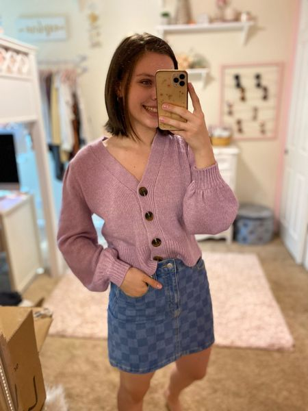 Cute target outfit, top fits true to size - go up in the skirt if inbetween though. #targetstyle #cardigans #target #wildfable #falloutfits   #LTKstyletip #LTKunder100 #LTKunder50