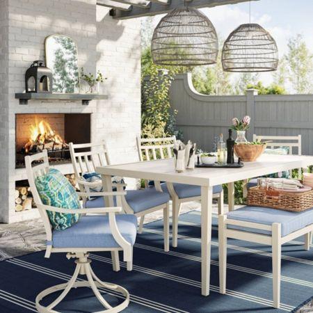 Blue and white outdoor furniture from target on sale! Target deal days, target patio set, outdoor set, white dining table, white outdoor table, white outdoor chairs, target home, target finds, amazon, Walmart finds, prime day @liketoknow.it #liketkit http://liketk.it/3i2nv #LTKsalealert #LTKhome #LTKunder50