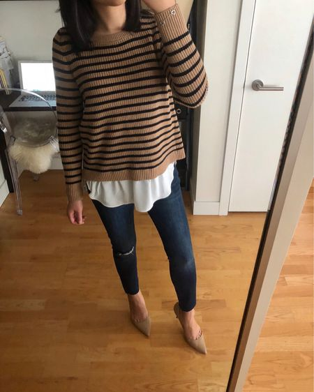 """This sweater runs true to size. For reference I am 5' 2.5"""" and I'm trying size XXS regular since this sweater doesn't come in petites. It's longer than 25"""" so in my opinion it looks best if I wear it with heels versus flats so that I look more proportional. Still debating if I should keep it since I do love the look of the two-for-one stripes with the shirttail hem. The exact jeans are linked and I took size 25P (the jeans look and fit nothing like the awful online stock image). @liketoknow.it http://liketk.it/2xQEE #liketkit #LTKsalealert #LTKstyletip #LTKshoecrush #LTKunder50 #LTKunder100"""