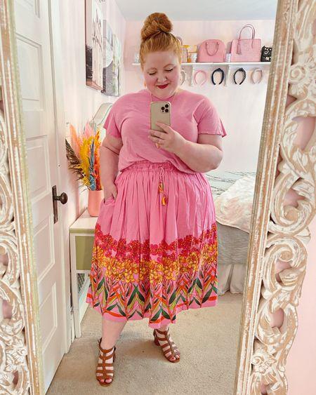 Tee and tropical beaded skirt from Anthropologie. Orange summer statement jewelry from Kendra Scott.🌺🧡  http://liketk.it/3hXpp #liketkit @liketoknow.it #LTKcurves #LTKtravel